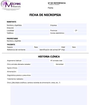 Necropsia: ficha y hoja de autorización